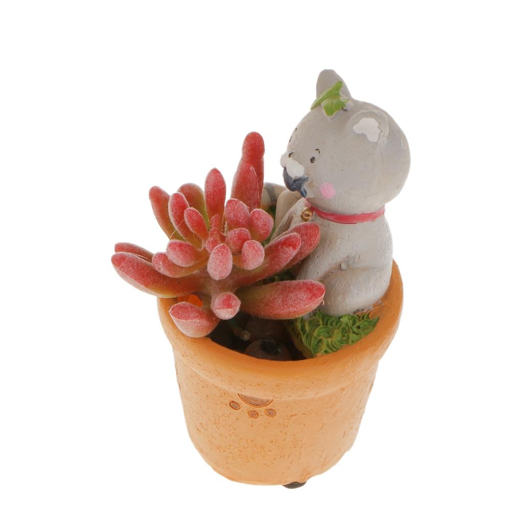 New Hot Cute Mini Cat Resin Succulent Plant Planter Flower Pots Home Garden Desk Office Decoration Creative Gifts