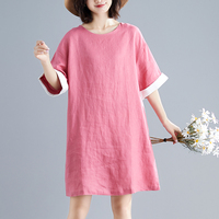 Plus Size Women Dress Cotton Linen Big Size Summer Sundress Female Lady Vestidos Pink Loose Vintage O neck T shirt Dress 2019