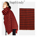 2016 new European&American style Women 's scarf good quality luxury Plaid tassel Scarves fashion soft Thick warm shawl  2colors
