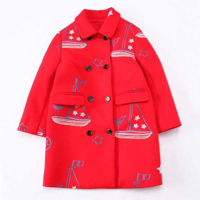 autumn and winter of 2017 the new kids girls in sailing in the long section of the double breasted wool red coat древпром табурет древпром скалли жемчуг rjlkthq