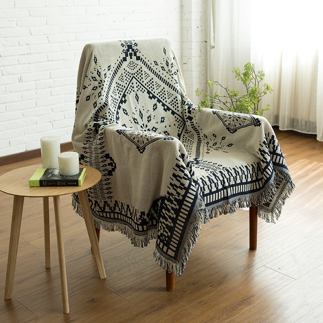 Tels Blue Geometric Woven Soft Sofa Blankets Throws Rugs Cover Chair Table Home