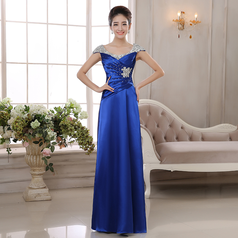 2017 Fashion Slim Formal Dress Long Evening Banquet Maid Of Honor Royal Blue Sequined In Dresses From Weddings Events On