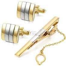 Luxury Gold Silver Men Plating Metal Necktie Tie Bar Clasp Tie Clip Fashion Simple Gift Cuff Links for Wedding