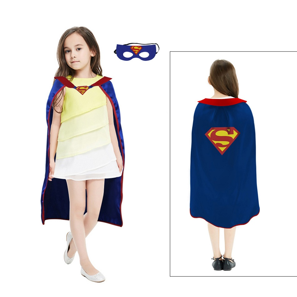 D.Q.Z L 27* Superhero Cape Mask Party For Girls Costume Decorations Event Gifts Cosplay Kids Party Masquerade Nephew Gifts
