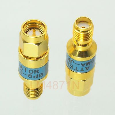 Attenuator 2W 2 Watts 1pc DC-3 Ghz 6dB SMA RF coaxial Power M to Jack F 50 gold attenuator 2w 2 watts dc 3 ghz 20db n rf coaxial power plug m to jack f 50 ohm 1pce