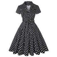 Polka Dot Black Retro Dress Short Sleeves Button 50s 60s 40s Rockabilly Vintage Dress Party Vestidos Cotton Swing Women's Dress