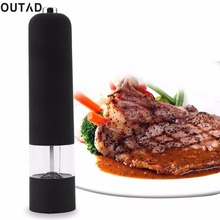 OUTAD BEST Hot Kitchen Tools Electric Salt Spice Pepper Herb Mills Grinder with LED Light pepper mill pepermolen Black