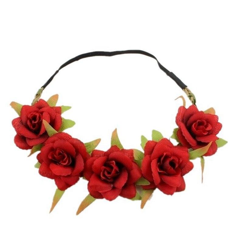 New Rose Flower Crown Wedding Festival stretch Headband Hair Garland Headpiece Floral Head Wreath Bohemia Holiday Accessories