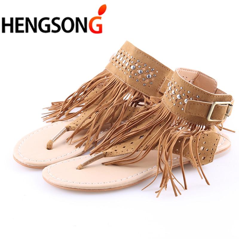 Новые летние плоской подошве в богемном стиле женские босоножки с кисточками женские Сланцы Винтаж женская обувь пляжные 915005