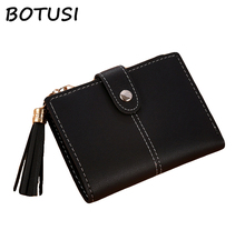 BOTUSI Simple Style Tassels Zipper&Hasp New Lady PU Leather Hand Wallet Thin Section Multi-card Bag Female Coin Card Cash