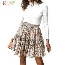 e0669502ce Faldas Mujer Retro Mini Sexy falda flor impresión alta cintura Faldas  Plisada Mujer Moda 2019 De Verano Plus tamaño 18Jan18