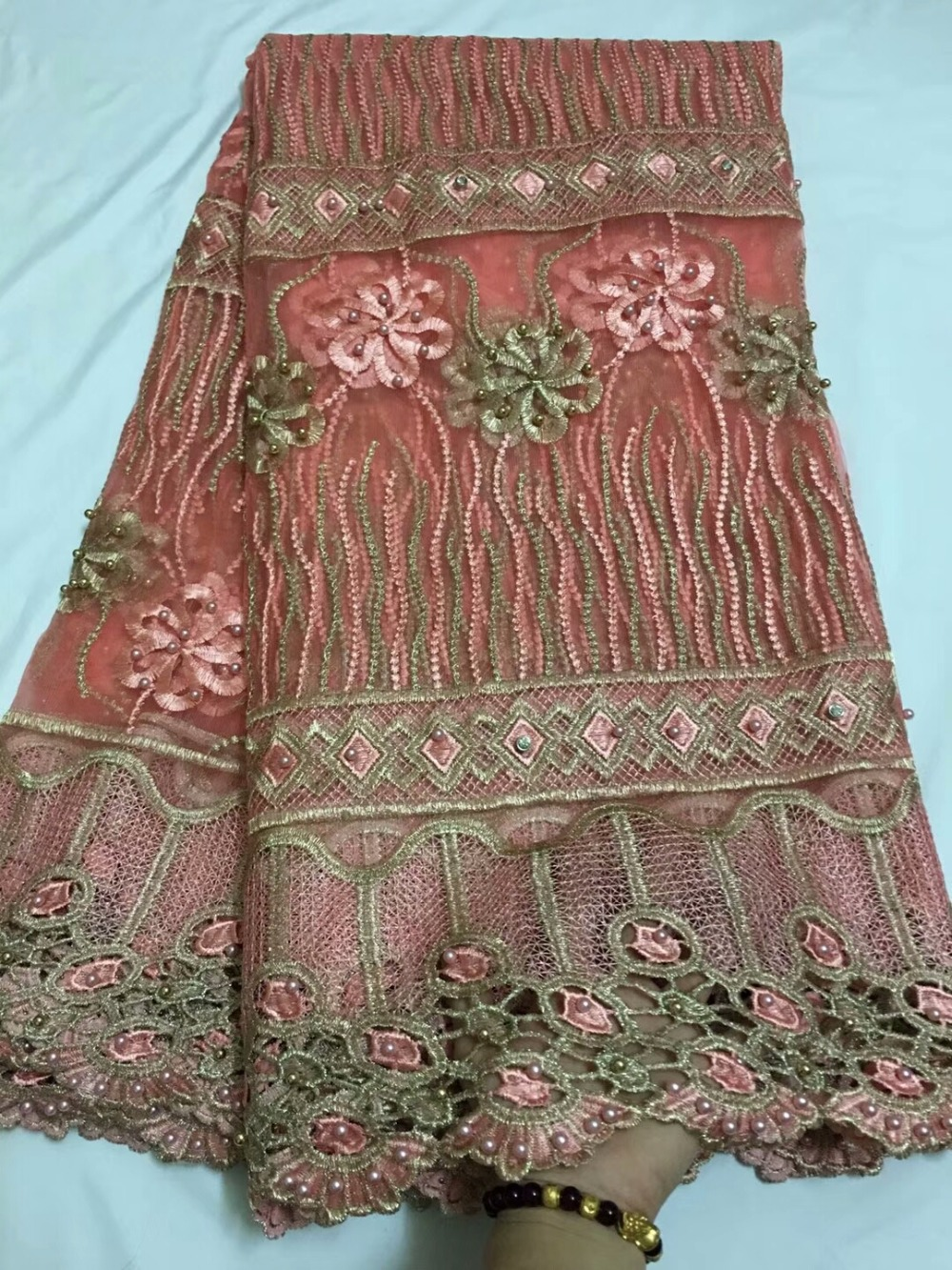 2018 African Cord Lace High Quality French Lace Fabric With Beads African Lace Fabric For Nigerian Wedding Dress2018 African Cord Lace High Quality French Lace Fabric With Beads African Lace Fabric For Nigerian Wedding Dress