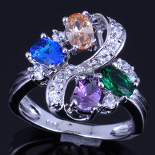 Delightful Plant Multigem Multicolor Brown Morganite 925 Sterling Silver Ring For Women V0143