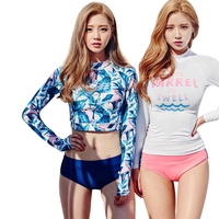 Women Hot Sexy Long Sleeve Rash Guard Two Pieces Swimwear Surfing Suit 2016 New Style Wetsuit