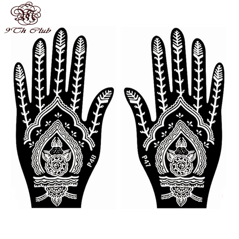 2 Pair Indian Henna Tattoo Stencil, Blomst Hånd Mehndi Henna Glitter - Tatovering og kroppskunst - Bilde 3