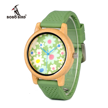BOBO BIRD WB04 Fashion Causal Bamboo Watch with Fabric Dial Ladies' Wood Watches With Soft Silicone Straps Quartz Watch With Box Women's Watches