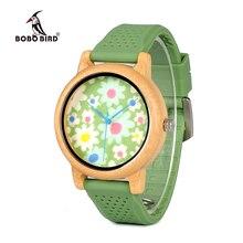BOBO BIRD WB04 Fashion przyczynowy bambusowy zegarek z tkaniną Dial damskie drewniane zegarki z miękkimi paski silikonowe kwarcowy zegarek z pudełkiem