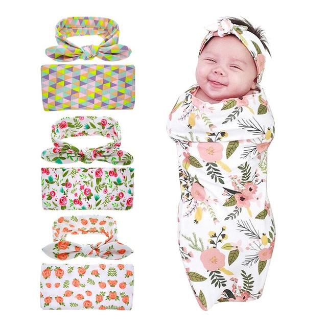 Manta Swaddle recién nacido Conjunto Diadema Headwrap Hospital ...