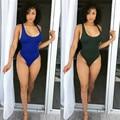 Зеленый и черный 2 цветов one piece женщины пляж костюм 2016 новая мода рукавов низкий о-образным вырезом горячие шорты сексуальные твердые боди XD607