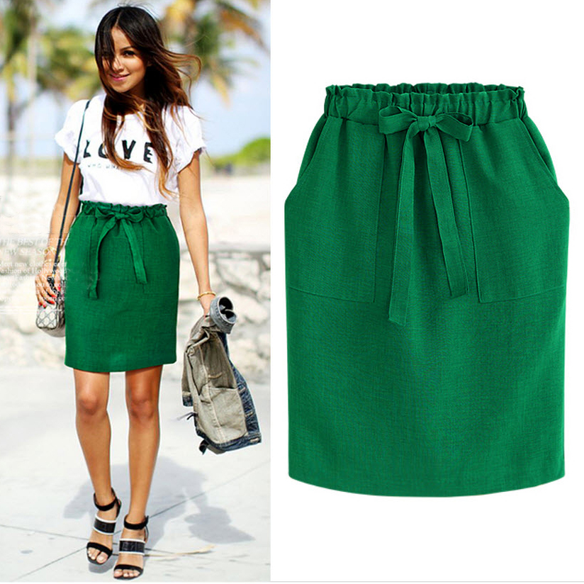 2020 New Spring Summer Elegant Midi Skirts Womens Office Pencil Skirt Cotton Elastic Waist Package Hip Skirt Bow Skirt Green