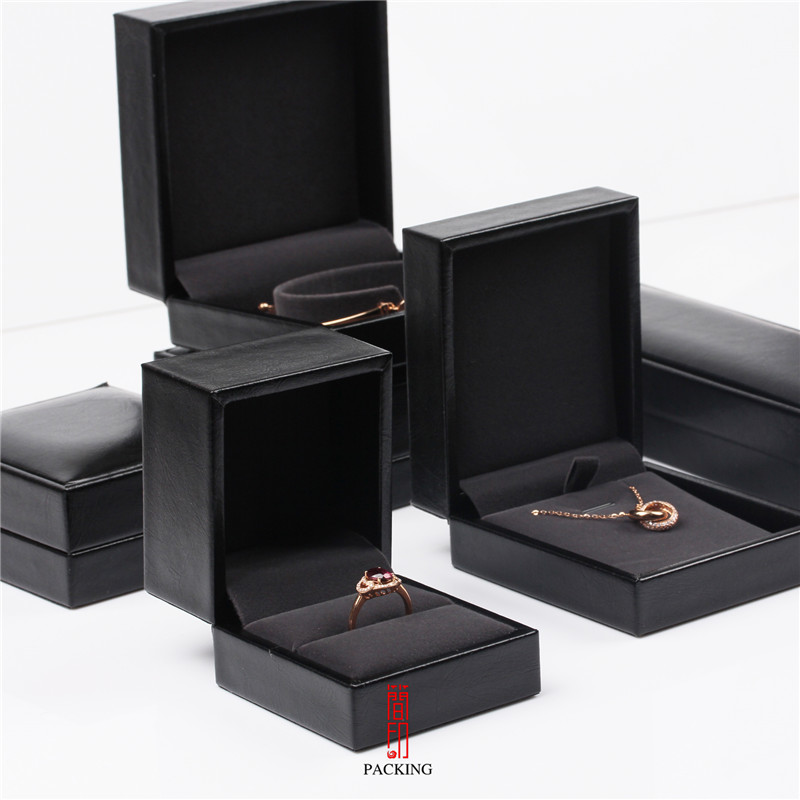 Black PU Leather Ring Pendant Bracelet Bangles Boxes With Dark Gray Velvet Innercore Jewellery Packaging Or Jewelry Gift Case