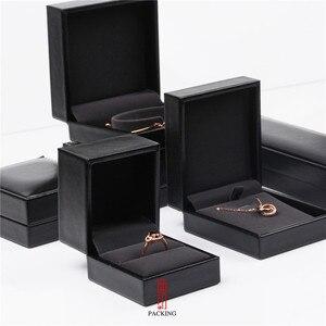 Black PU leather Ring Pendant