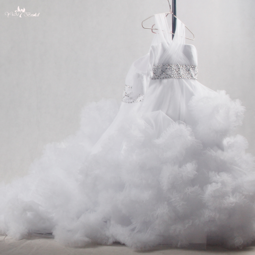 FG51   Dress   Cloud Tulle Ruffle   Flower     Girl     Dress   First Communion   Dresses   For   Girls