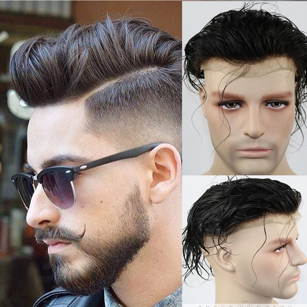 SimBeauty Bleacked Knots Toupee For Men Full Swiss Lace Men's Wig Hair Pieces Brazilian Virgin Human Hair Replacement