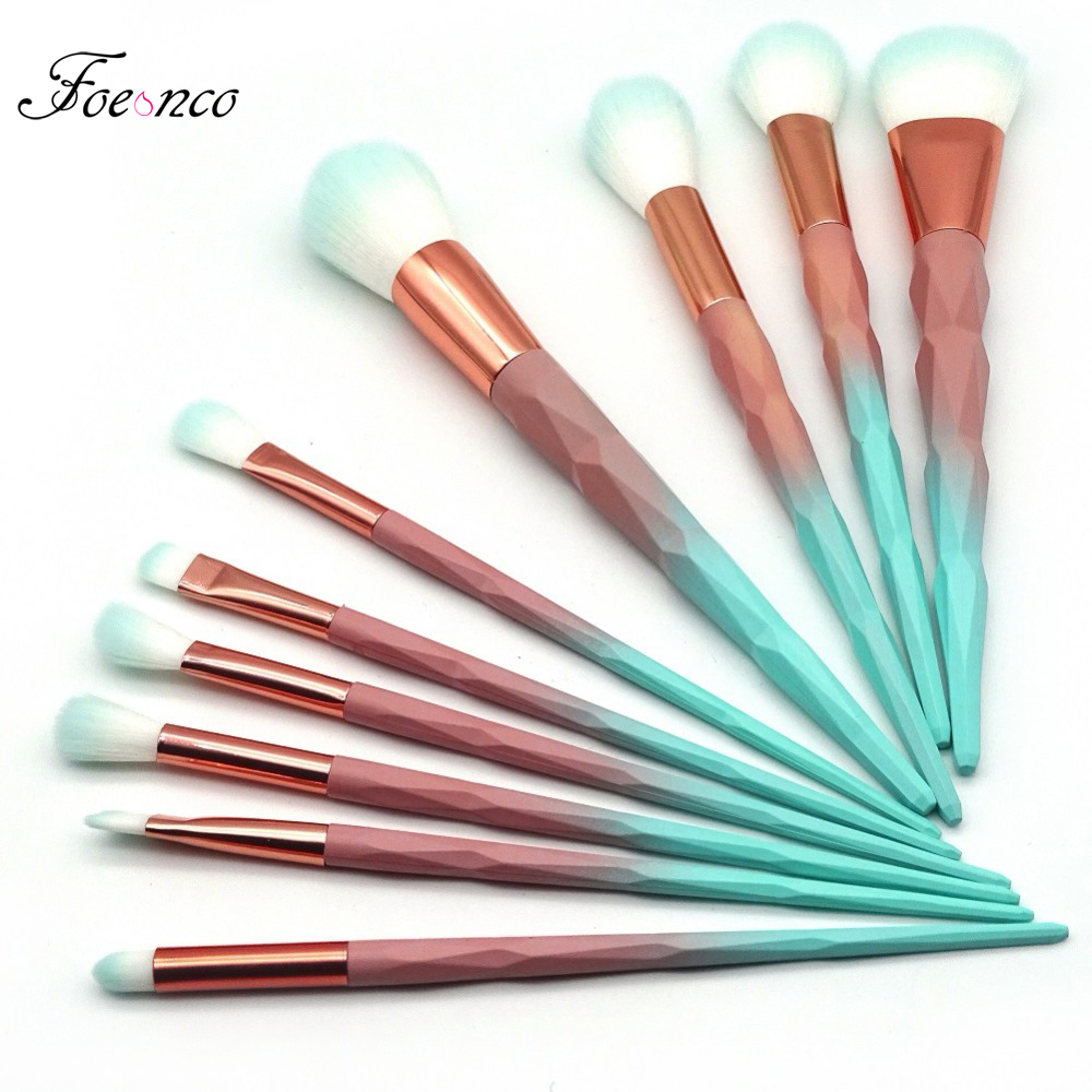 FOEONCO 7/10 pcs Unicorn diamond Makeup Brushes Set Green Macarons color Facial Foundation Cosmetic Makeup Brush Kit archpole cтол oldwood staple