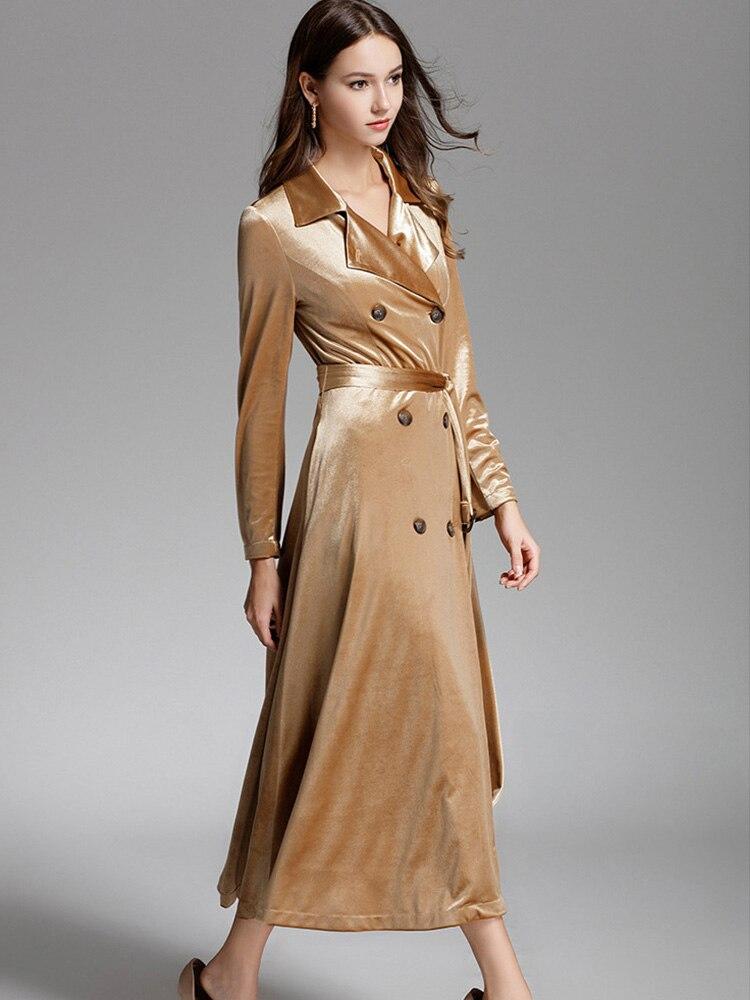 Trench en daim manteau long pardessus femmes en peluche coupe-vent manteaux hiver à manches longues coupe-vent imperméable manteau velours décontracté
