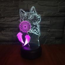Wolf Night Lamp 3D Bedroom Multicolor Touch Sensor Novelty Lighting Child Kids Nightlight Gift Dreamcatcher LED Light