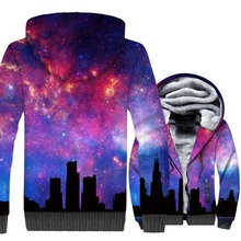 Space Galaxy 3D Print Hoodie Men Dreamlike Sweatshirt Harajuku Coat Winter Thick Fleece Super Warm Zipper Jacket