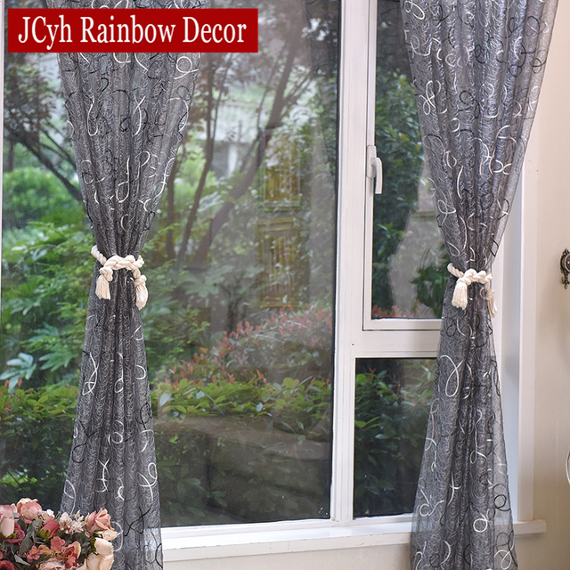 Silver Solid Embroidered Curtains 4