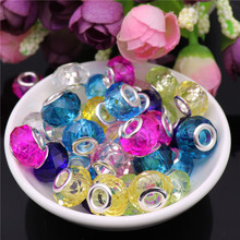 10pcs Cut Faceted 925 Sterling Silver Big Hole Glass Beads fit Pandora Original Charm Bracelet Chain Necklace for Jewelry Making 10pcs hot cut faceted color crystal glass beads fit european bracelet spacer original pandora charm bracelet for jewelry making