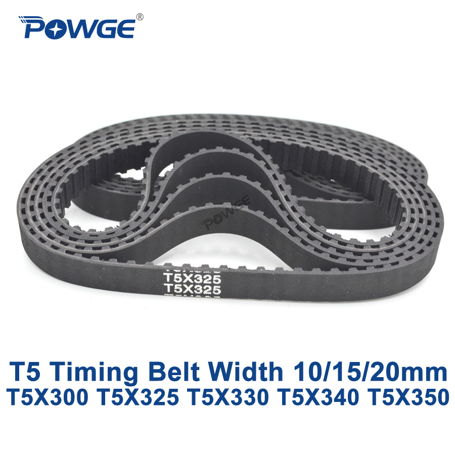 POWGE T5 Synchronous timing belt C=300/325/330/340/350 Width 10/15/20mm Teeth 60 65 66 68 70 Rubber T5X300 T5X325 T5X330 T5X350 image