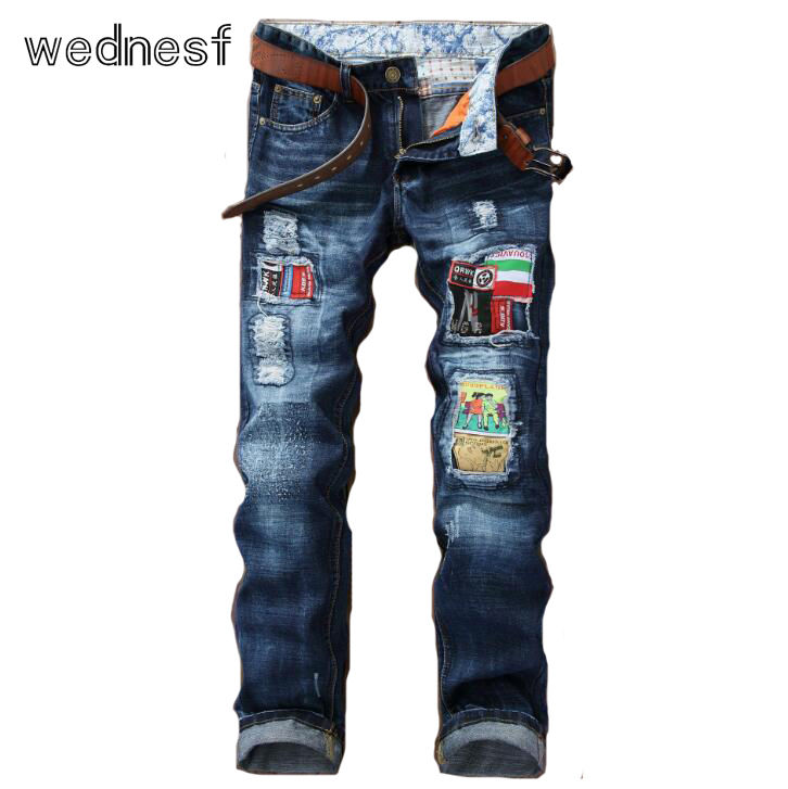 ФОТО #1937 Jogger jeans Brand-clothing Fashion Ripped jeans for men Fake designer clothes Slim jeans homme Patchwork Mens biker jeans