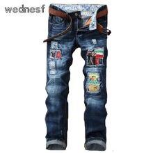 #1937 Jogger джинсы Бренд-одежда Мода Рваные джинсы для мужчин Поддельные дизайнер одежды Тонкие джинсы homme Лоскутное Мужские байкер джинсы