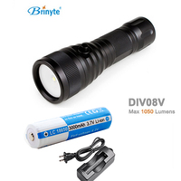 Brinyte DIV08V LED Video/ Photo Light CREE XML2 1000lm Scuba Diving Torch Flashlight 200M Underwater Lamp + battery + charger