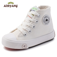 Toddler Child Canvas High Top Shoes Kids White Breathable Sneakers Shoes Boys Girls Sport Lace Up