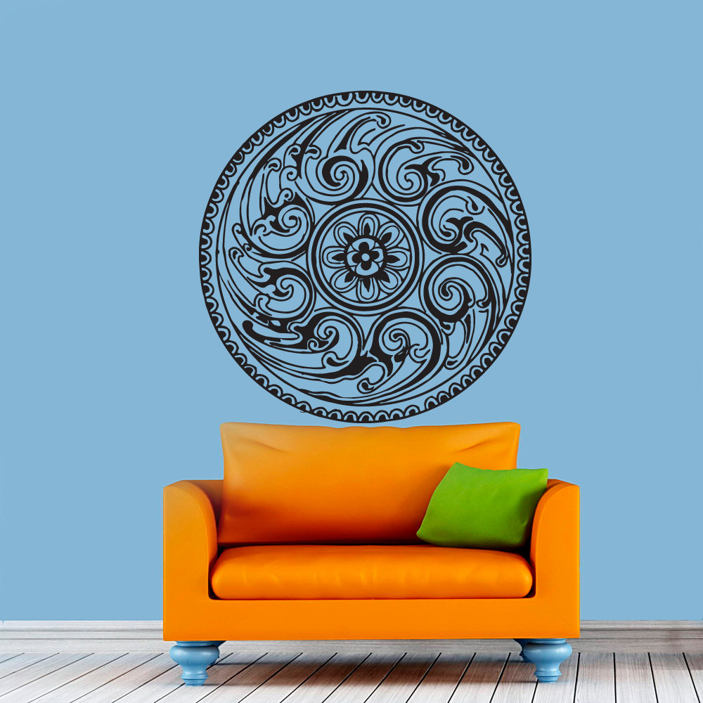 Aliexpress buy mandala wall stickers indian round pattern aliexpress buy mandala wall stickers indian round pattern leaf vinyl decal namaste yoga art decor home office gym dorm living room murals from amipublicfo Images