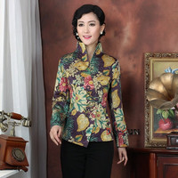 Stylish Autumn Winter Multicolor Women's Satin Jacket Floral One Button Long Sleeve Tang Suit V Neck Slim Elegant Coat S To XXXL