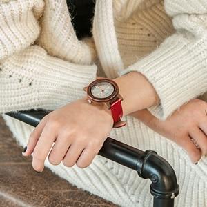 Image 3 - בובו ציפור מותג נשים עץ שעון 37mm עץ PU רצועת שעוני יד נקבה שעונים ליידי קוורץ שעון relogio feminino C P29