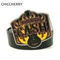 Los nuevos Mens Negro Correa de Cuero de Moda Popular Punk Rock de Johnny Cash música de Guitarra Gran Cinturón Hebillas De Metal Para Los Hombres Jeans Pantalones Casual