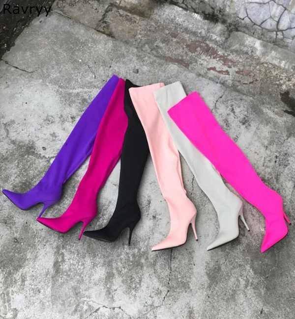 Mor Elastik Uzun Çizmeler Kadın over-the-diz Çizmeler Ince Topuk Patik 2019 Sıcak Moda Sonbahar Kış kadın elbisesi ayakkabı
