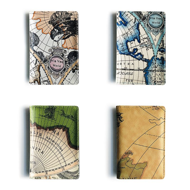 Fashion World Map Printing Travel Passport ID Card Cover Holder Case Protector Organizer Passport Holder 14x9x1cm
