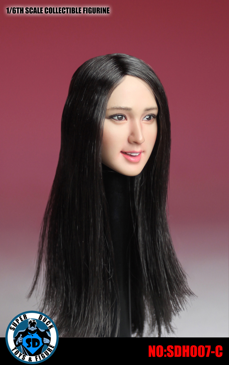 1/6 SDH007-C Asia Beautiful Girl Head Sculpt with Black Long Hair for 12 inches Action Figure 1 6 scale asia beautiful gird head sculpt black short hair head