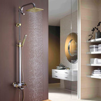 High quality brass luxury Chrome & Gold Bathroom Square 8 Rainfall Shower Faucet Set Tub Mixer Tap with Handheld Spray