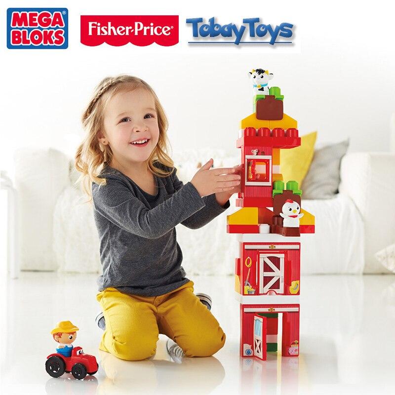 2017 nouveau véritable marque Fisher Price Mega Bloks Ferme Amis blocs De construction jouet bébé drôle jouet Les Amis De la Ferme DPJ57 - 2