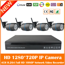 Video Bullet Ip Cameras Wifi 1.0mp With Nvr 4ch H.264 Onvif P2p Outdoor Waterproof Surveillance Security System Kit Hot
