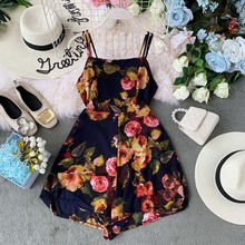 Summer Chic Shorts Playsuits Women Bodysuits Casual Camis Rompers Print Floral Jumpsuits Bohemian Beach Holiday Body Mujer navy random floral print camis